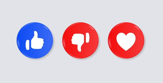 Like dislike love buttons or thumb up down in modern 3d circle social media notification icons