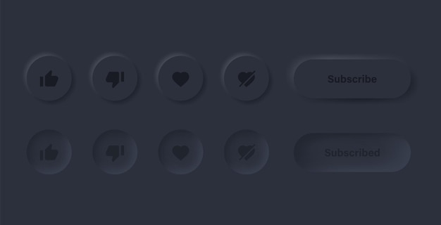 Like dislike love unlove icon in black neumorphism buttons with subscribe and notification icons