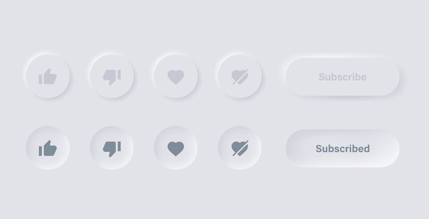 Like dislike love unlove icon in white neumorphism buttons with subscribe and notification icons
