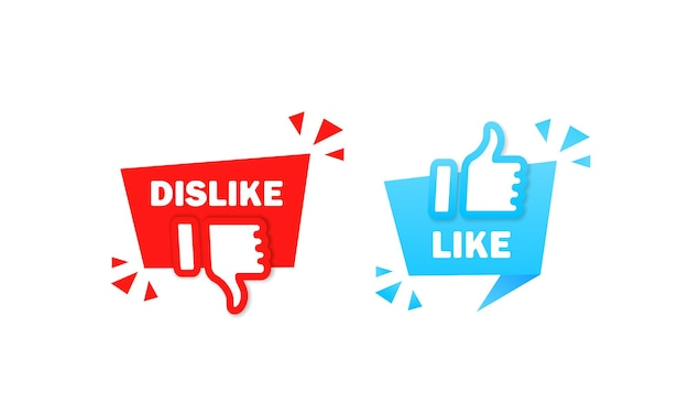 Like and dislike sign. thumb up and thumb down symbol. vector on isolated white background. eps 10.