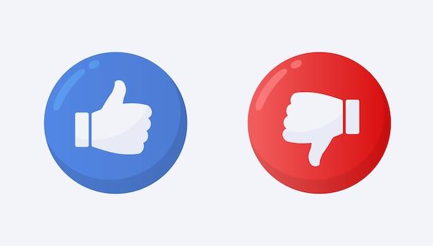 Like and dislike symbol flat style