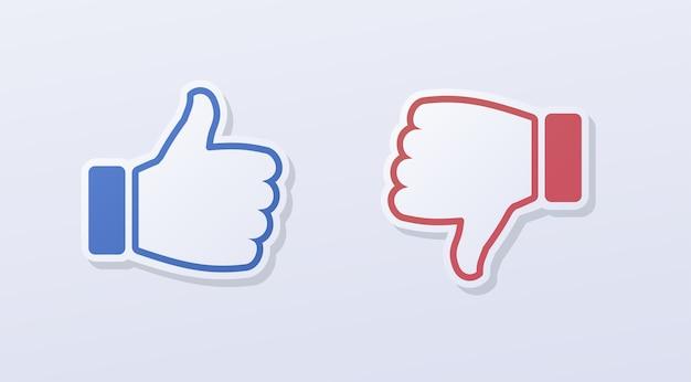 Like and dislike symbol paper cut style