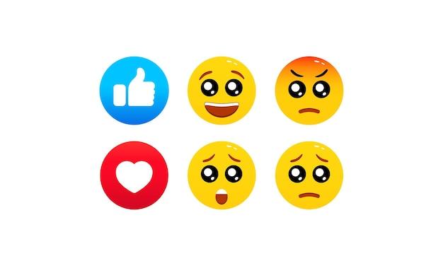 Например, смайлики, плоский значок смайликов. реакции в социальных сетях. элементы общения в чате. вектор на изолированном белом фоне. eps 10.