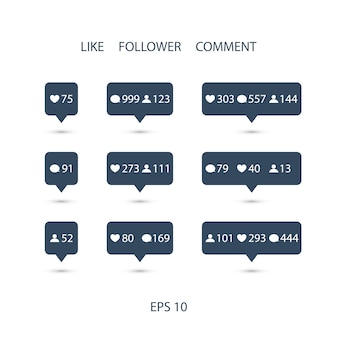 Like, follower, comment icons set