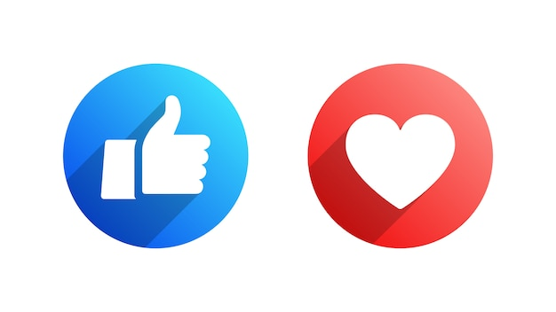 Like and heart facebook flat icons set