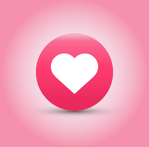 Like and heart icon on pink background.