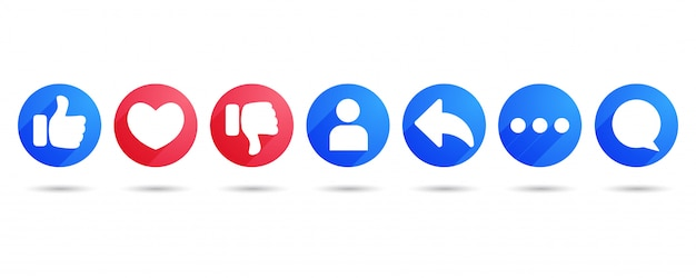 Like heart share comment and dislike flat icons