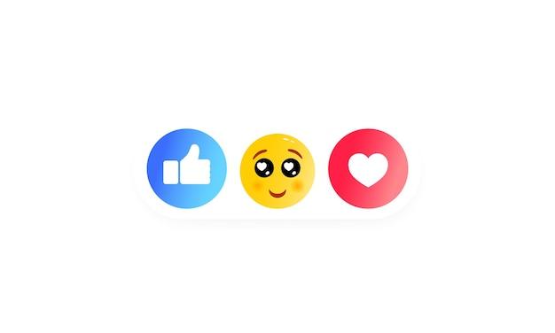 Как сердце, смайлик, большой палец вверх значок нравится. иконки социальных сетей. вектор на изолированном белом фоне. eps 10. смайлики смех, удивление, грусть и гнев.