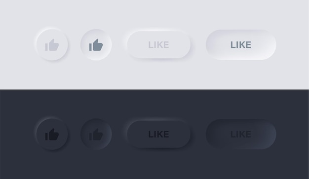 Like icon in neumorphism buttons or thumbs up symbol in circle with neumorphic ui design