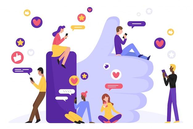 ソーシャルメディアキャラクターコンセプトフラットイラストのように。大きな手の記号の近くのスマートフォンを持つ男女。人、心、メッセージ、星と現代のインターネットネットワークコミュニティの背景