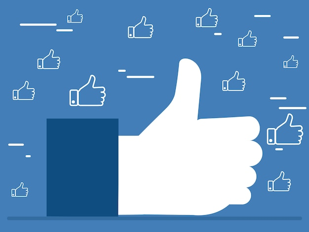 Like it thumbs up hands vector concept