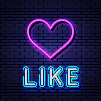Like neon symbol  illustration