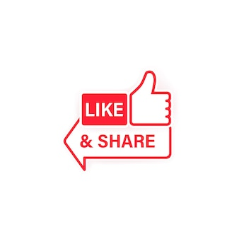 Like and share icon. thumbs up. social network symbol in flat style with shadow. vector on isolated white background. eps 10.