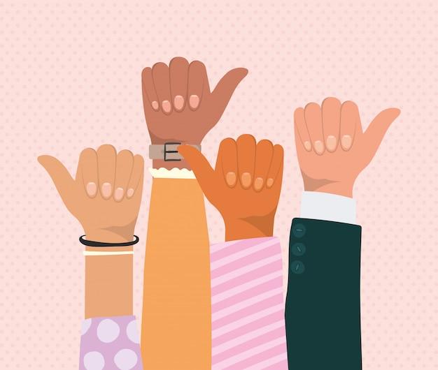 Как знак с руками различных типов дизайна скинов, разнообразия людей многонациональной расы и темы сообщества