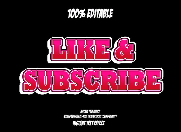 Like and subscribe, editable font effect