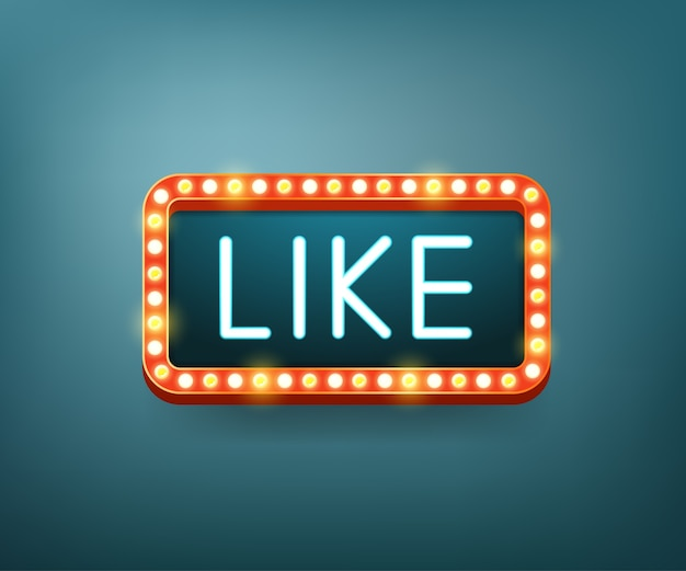 Like. text with electric bulbs frame.