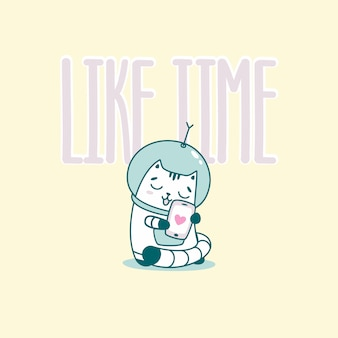 Like time lettering with funny astronaut cat
