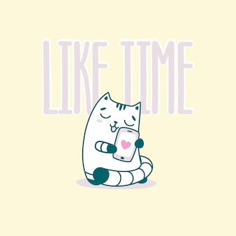 Like time lettering with funny cat
