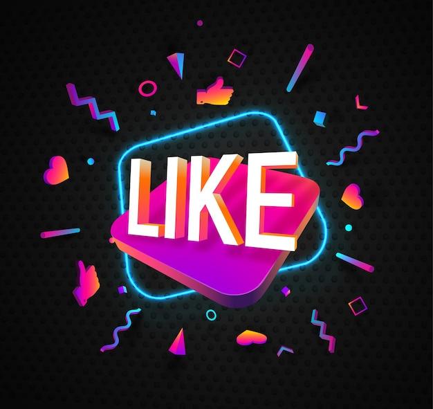 어두운 배경 엄지 스티커 d 격리 된 디자인 요소에 단어 소셜 미디어 벡터 웹 배너처럼