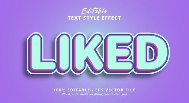 Liked text on light color text effect, editable text effect