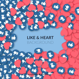 Likes and hearts facebook background