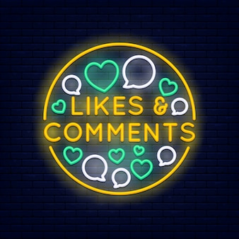 Likes and comments colorful neon banner at brick wall