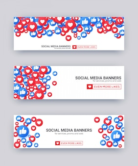 Likes emoji banner set, blue and red thumb up and heart icon for live stream social network.