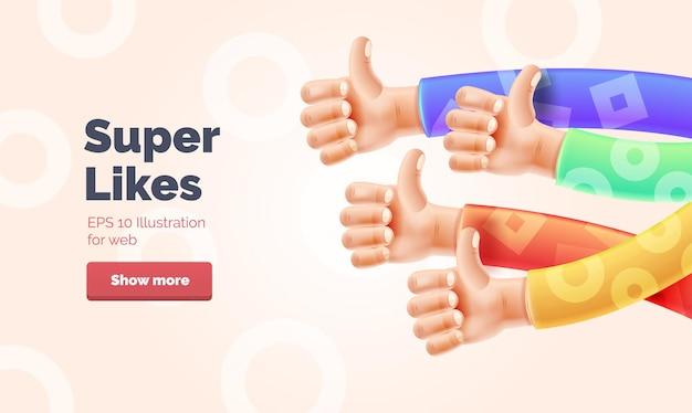 복사 공간이 있는 손 그림이 있는 웹 배너를 좋아합니다. 제기된 엄지손가락으로 손을 묘사한 벡터 일러스트 제스처 세트
