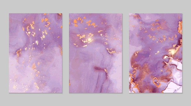 ライラックと金の大理石の抽象的なテクスチャ