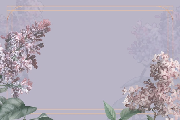 Lilac border frame vector on purple background