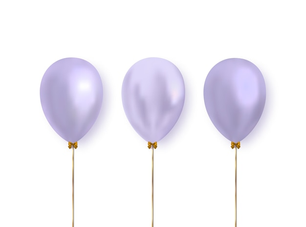 Lilac color realistic glossy balloons isolated