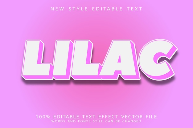 Lilac editable text effect emboss modern style