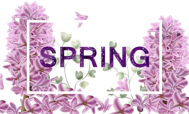 Lilac flowers spring banner watercolor