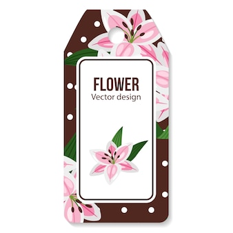 Lilies flower on brown tag