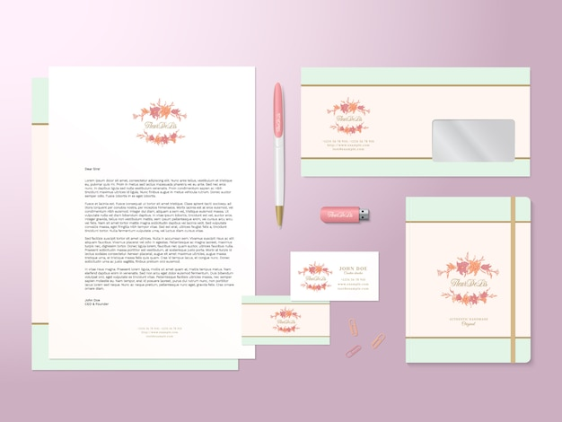 Lilies logo template and realistic stationary set with soft shadows. good as template or mock up for business identity.