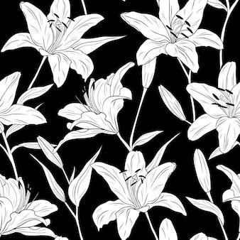 백합. 원활한 패턴입니다. 꽃, 잎 및 가지.