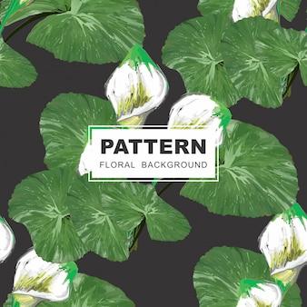 シームレスな花のパターン -  lillies and leaves