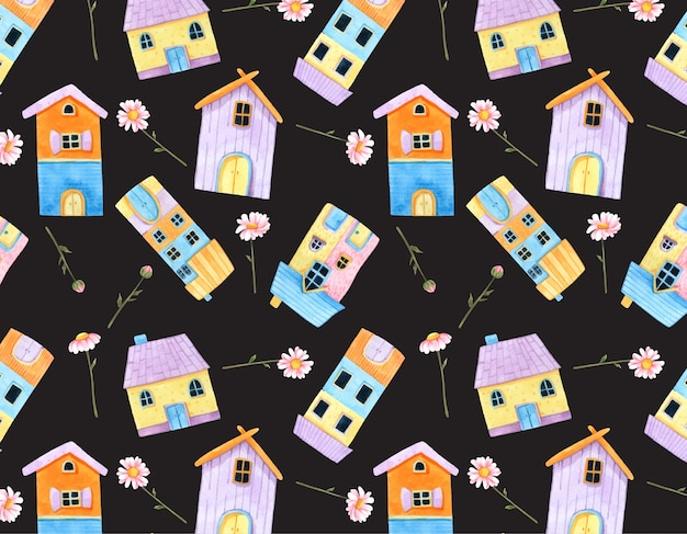 Lilltle cute house and pink flower seamless pattern in watercolor.
