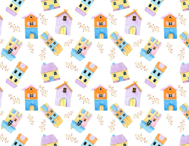 Lilltle cute house and red flower seamless pattern in watercolor.