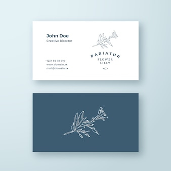 Lilly flower with bourgeon vector sign or logo and business card template.