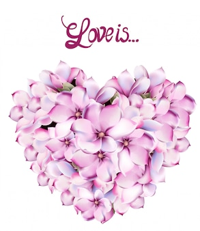 Lilly flowers love card watercolor