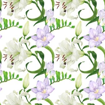 ユリとフリージアの花の水彩画のシームレスパターン