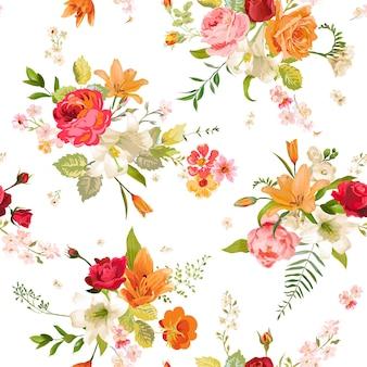 Бесшовный фон цветы лилии и орхидеи. цветочный узор