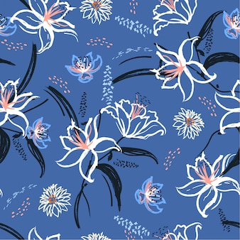 Lily and blooming flowers seamless pattern