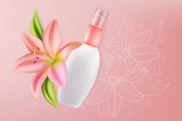 Lily cosmetics for face sensitive skin beauty Premium Vector