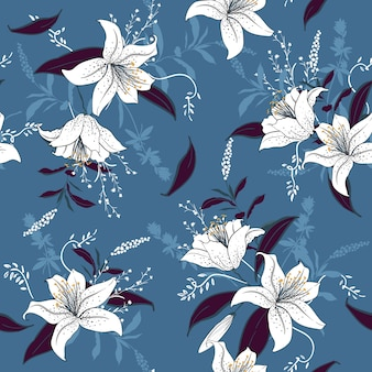 Lily  floral pattern botanical  seamless pattern vector