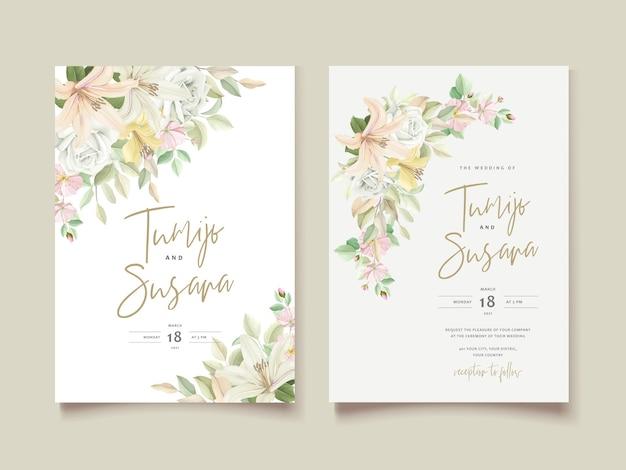 ユリの花の結婚式の招待カード