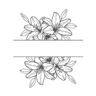 Lily. flower border. floral frame.