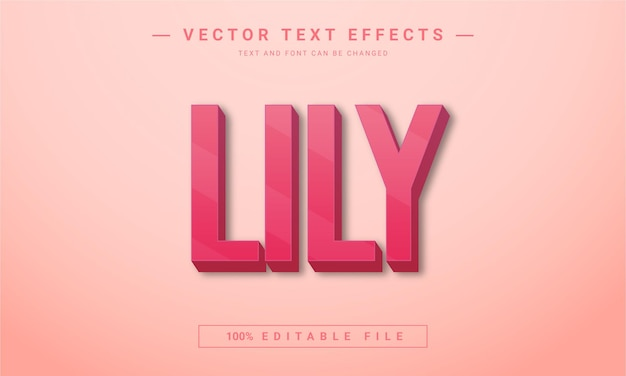 Lily flower editable 3d text style