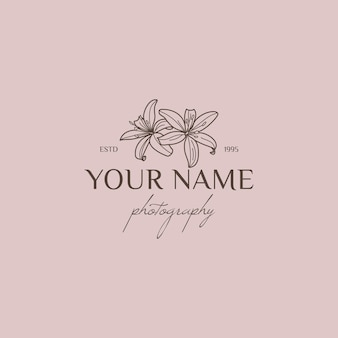 Lily flower logo design template in simple minimal linear style. vector floral emblem and icon for wedding photographers.